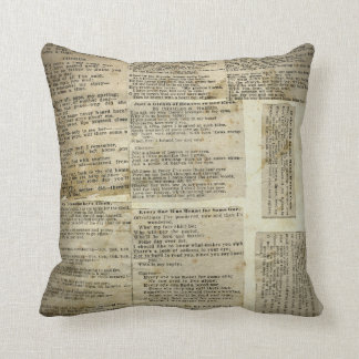 Antique Poetry Paper Clippings Pillow