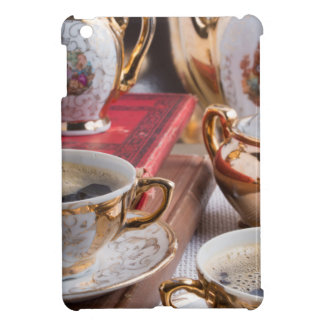 Antique porcelain coffee cups with coffee cover for the iPad mini
