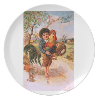 Antique Post Card Easter Boy Rooster Melamine Plate