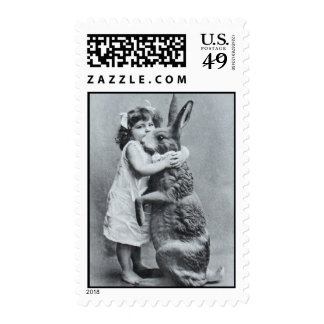 Antique Post Card Easter Girl Hugs Bunny Postage Stamps