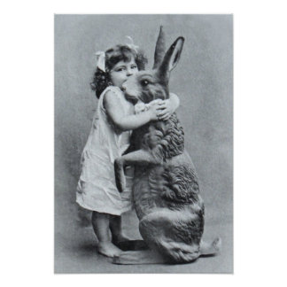 Antique Post Card Victorian Girl Easter Bunny Poster