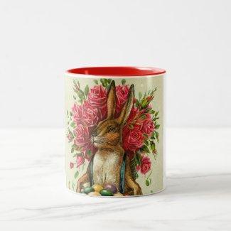 Antique Postcard Bunny Roses Easter Mug