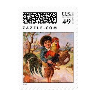 Antique PostCard Easter Boy Rooster Postage Stamp