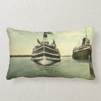 Antique Postcard Great Lakes Passenger Boats Lumbar Pillow