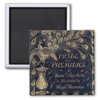 Antique Pride and Prejudice Peacock Edition Cover 2 Inch Square Magnet