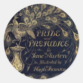 Antique Pride and Prejudice Peacock Edition Cover Classic Round Sticker
