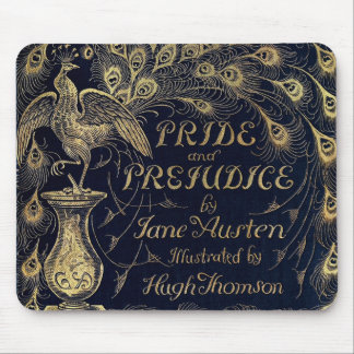 Antique Pride and Prejudice Peacock Edition Cover Mouse Pad