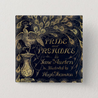 Antique Pride and Prejudice Peacock Edition Cover Pinback Button