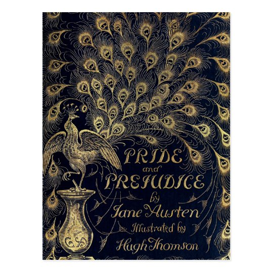Antique Pride and Prejudice Peacock Edition Cover Postcard