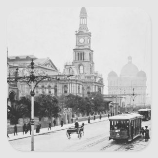 Antique print George St Sydney Australia c1898 Square Sticker