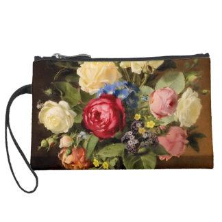 """Antique Print """"Victorian Roses"""" Clutch Wristlet Purse"""