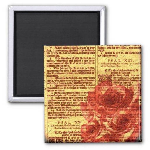Antique Psalms & Roses Magnet