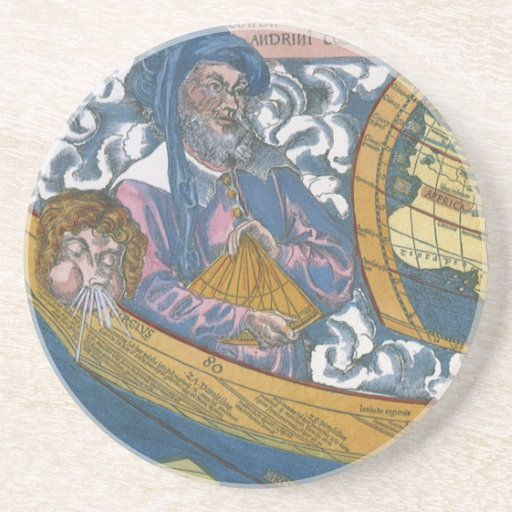Antique Ptolemaic World Map; Claudius Ptolemy Drink Coaster