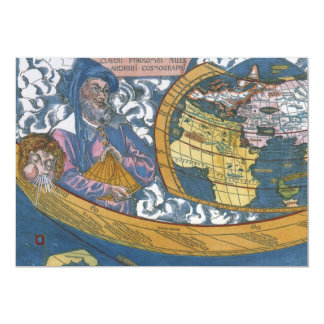 Antique Ptolemaic World Map; Claudius Ptolemy 5x7 Paper Invitation Card