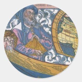 Antique Ptolemaic World Map; Claudius Ptolemy Round Stickers
