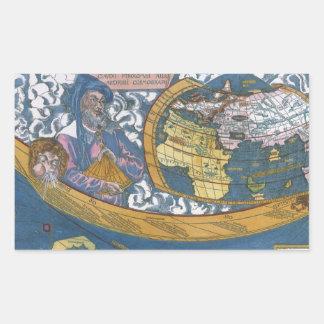 Antique Ptolemaic World Map; Claudius Ptolemy Rectangle Sticker