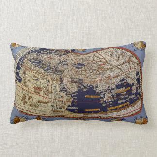 Antique Ptolemaic World Map, Johannes of Arnsheim Lumbar Pillow