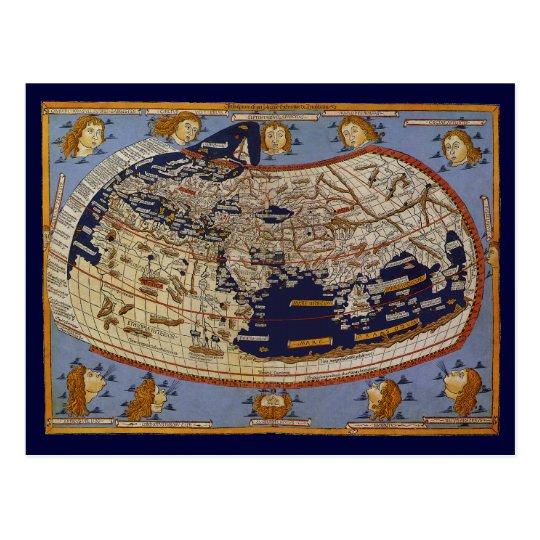 Antique Ptolemaic World Map, Johannes of Arnsheim Postcard