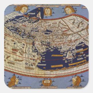 Antique Ptolemaic World Map, Johannes of Arnsheim Square Sticker