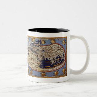 Antique Ptolemaic World Map, Johannes of Arnsheim Two-Tone Coffee Mug