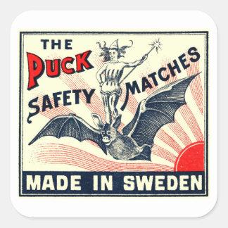 Antique Puck Riding Bat Swedish Matchbox Label