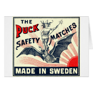 Antique Puck Riding Bat Swedish Matchbox Label Card