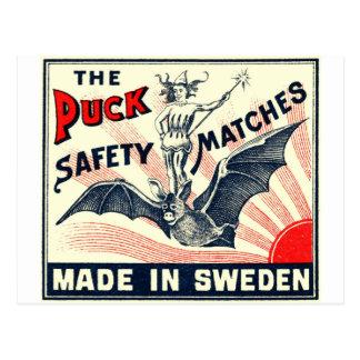 Antique Puck Riding Bat Swedish Matchbox Label Postcard