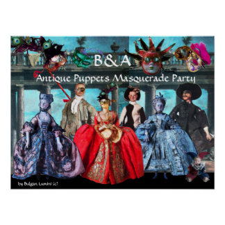 ANTIQUE PUPPETS MASQUERADE COSTUME PARTY MONOGRAM POSTER