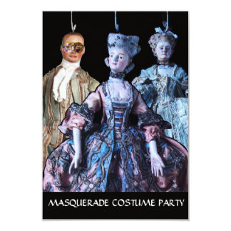 ANTIQUE  PUPPETS MASQUERADE COSTUME PARTY RSVP CARD