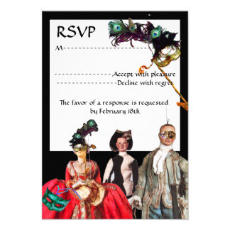 ANTIQUE PUPPETS MASQUERADE COSTUME PARTY RSVP PERSONALIZED INVITE
