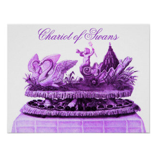 ANTIQUE PURPLE CHARIOT OF SWANS AND CUPCAKES POSTER