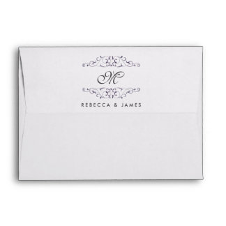 Antique Purple Flourish Monogram Wedding Envelopes