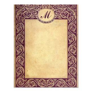 Antique Purple Monogram Paper Card
