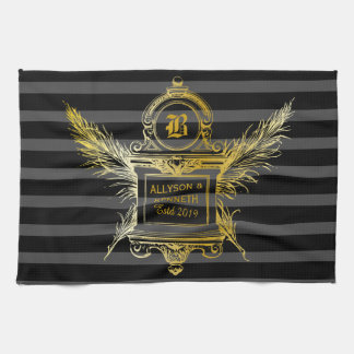 Antique Quill Feathers Classic Gold Frame Monogram Kitchen Towel