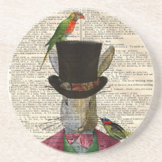 Antique Rabbit Book Page Altered Art Coasters