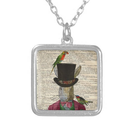 Antique Rabbit Book Page Altered Art Necklace