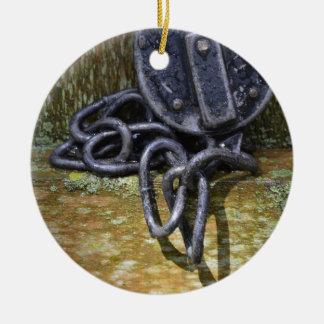 Antique Railroad Lock & Chain Ceramic Ornament