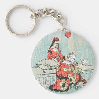 Antique Randolph Caldecott Queen of Hearts Print Basic Round Button Keychain