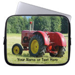Antique Red and Yellow Tractor in Field Computer Sleeves