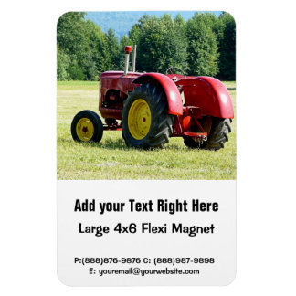 Antique Red and Yellow Tractor in Field Magnet