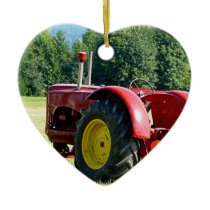 Antique Red Farm Tractor Ceramic Ornament