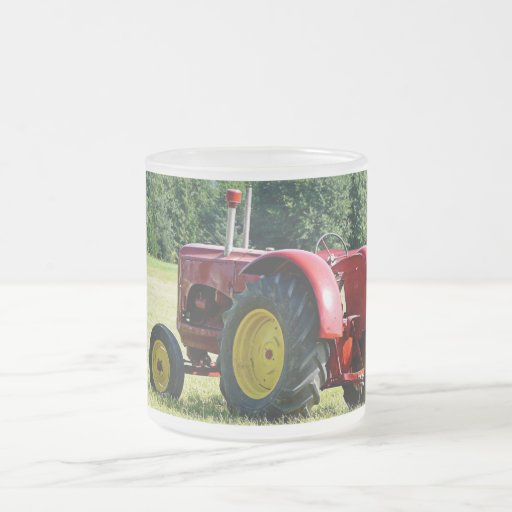 Antique Red Farm Tractor Frosted Glass Coffee Mug