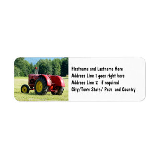 Antique Red Farm Tractor Label