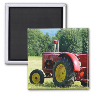 Antique Red Farm Tractor Refrigerator Magnet