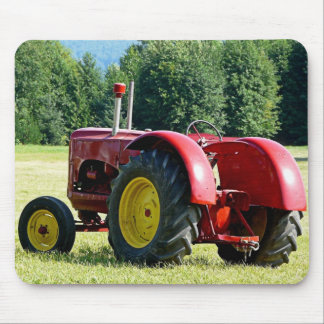 Antique Red Farm Tractor Mousepads