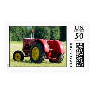 Antique Red Farm Tractor Postage