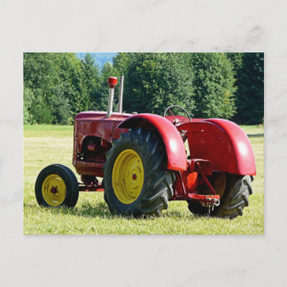 Antique Red Farm Tractor Postcard