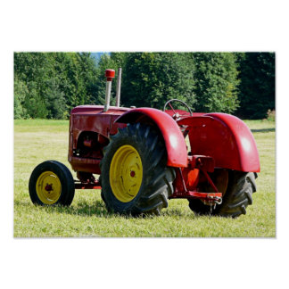 Antique Red Farm Tractor Poster