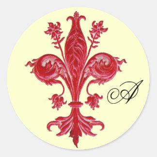 ANTIQUE RED FLEUR DE LISE MONOGRAM ,Cream Round Stickers