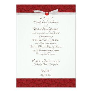 "Antique Red Florentine Wedding Invitation 5"" X 7"" Invitation Card"